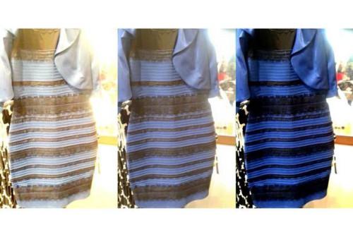 Какого цвета было платье, синее или белое